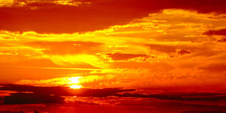 Dramatic sunset. Red dramatic sunset in Bavaria, shot in late May Stock Image