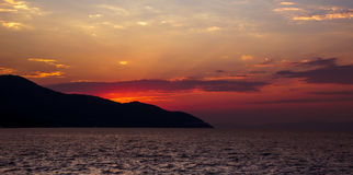 Dramatic sunset with red sky Royalty Free Stock Photography