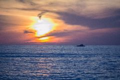 Dramatic sunset at San Clemente beach, California royalty free stock images