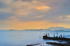 Dramatic sunset  at sandy bay Royalty Free Stock Image