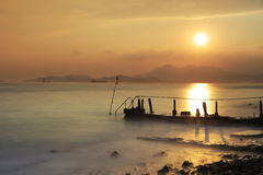 Dramatic sunset  at sandy bay Royalty Free Stock Images