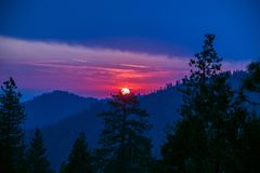Dramatic sunset at the Sequoia Forest. Dramatic sunset at the Sequoia National Park. Beautiful enchanting sky stock images