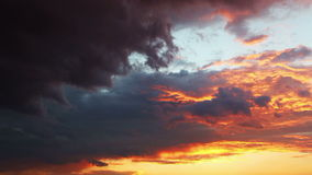 Dramatic sunset sky with clouds - time lapse. stock video footage