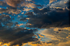 Dramatic sunset sky with colorful clouds after thunderstorm Stock Photography