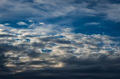 Dramatic sunset sky with colorful clouds after thunderstorm.  royalty free stock photography