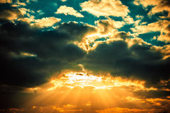 Dramatic sunset sky royalty free stock photography