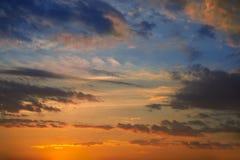 Dramatic sunset sky with orange royalty free stock photography
