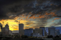 Dramatic Sunset Sky Over Portland Skyline Royalty Free Stock Photo