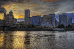 Dramatic Sunset Sky Over Portland Skyline 2 Stock Images