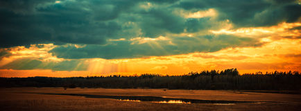 Dramatic sunset sky panorama royalty free stock photo