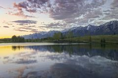 Dramatic Sunset Sky Quarry Lake Canmore Canadian Rocky Mountains Stock Images