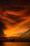Dramatic sunset sky at sea Stock Photos
