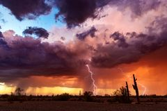 Dramatic sunset sky with storm clouds and lightning over the Arizona desert.