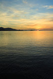 Dramatic sunset sky and tropical sea at dusk Royalty Free Stock Photos