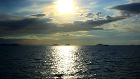 Dramatic sunset sky and tropical sea stock footage