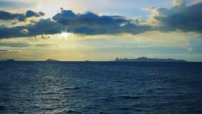 Dramatic sunset sky and tropical sea. Panoramic dramatic sunset sky and tropical sea stock video