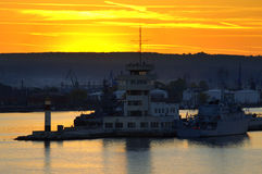 Dramatic sunset sky Varna port Royalty Free Stock Photos