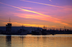 Dramatic sunset sky Varna port Stock Photos
