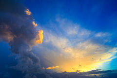 Free Dramatic Sunset Sky With Yellow, Blue And Orange Thunderstorm Cl Royalty Free Stock Images - 40651009