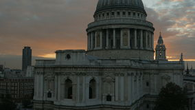 Dramatic Sunset by St Paul's Cathedral in London, UK - Wide Angle Shot stock footage