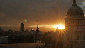 Dramatic Sunset by St Paul's Cathedral in London, UK - Wide Shot Small Aperture stock video