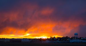 An ominous sunset in montana. A dramatic sunset before a storm as seen in america in the springtime royalty free stock images