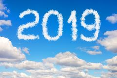 Dramatic sunset or sunrise cloudscape with 2019 text. Christmas and new year celebration concept.  stock images