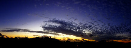 Dramatic sunset. Dramatic urban sunset in Vacoas Mauritius Royalty Free Stock Image