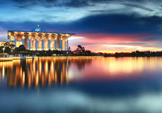 Dramatic sunset view at Iron Mosque, Putrajaya Stock Photography