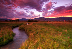 Dramatic sunset in the Wasatch Mountains. Vivid red sunset in the Wasatch Mountains, USA Stock Photos