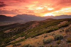Dramatic sunset in the Wasatch Mountains. Vivid sunset in the Wasatch Mountains, USA Stock Photography
