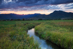 Dramatic sunset in the Wasatch Mountains. Stock Photo