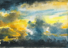Dramatic sunset watercolor Stock Images
