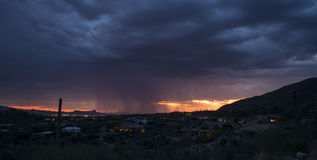 Dramatic Sunset Weather in Tucson, Arizona Royalty Free Stock Photos