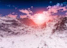 Dramatic sunset at winter mountains bokeh design background stock images