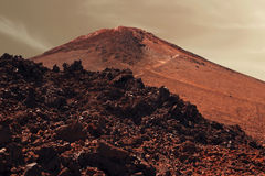 Dramatic surface of red planet Mars Stock Photo