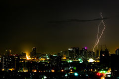 Dramatic thunder storm lightning bolt on the horizontal sky and city scape Stock Photo