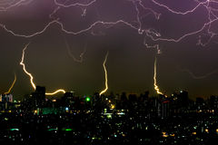 Dramatic thunder storm lightning bolt on the horizontal sky and city scape Royalty Free Stock Photos