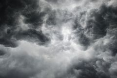 Dramatic thunderstorm clouds background at dark sky Stock Photography