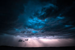 Dramatic thunderstorm. Dramatic clouds and lightning during a summer thunderstorm. Tartu, Estonia Stock Photography