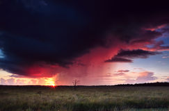 Dramatic thunderstorm at sunset Royalty Free Stock Photography