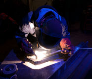 Dramatic TIG welding close up Stock Images