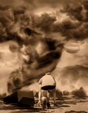 Dramatic tornado.  Sky with storm clouds Stock Image