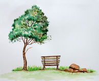 Dramatic tree standing beside chair Royalty Free Stock Image