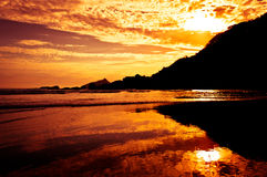 Dramatic Tropical Sunset In The Beach Stock Image