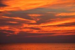 Dramatic twilight sky and sea with horizon. Dramatic powerful twilight sky and sea with horizon royalty free stock photo
