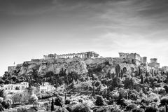 Dramatic view of the Acropolis in black and white Stock Images