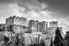 Dramatic view of the Acropolis in black and white Royalty Free Stock Image