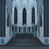 Dramatic view inside Church or Basilica at night Royalty Free Stock Images
