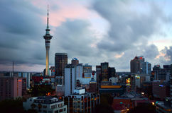 Dramatic view of Auckland city skyline at dusk Stock Photography